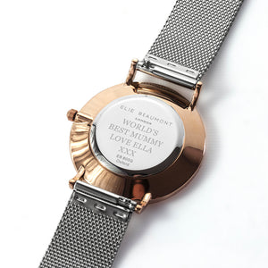 Rose Gold Dial Metallic Mesh Strapped Watch