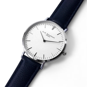 Navy & Silver Leather Watch
