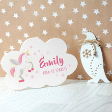 Load image into Gallery viewer, Born To Sparkle Unicorn Cloud Sign