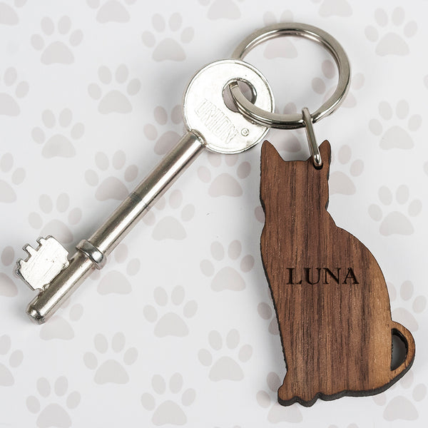 Walnut Wood Cat Shaped Keyring
