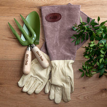Load image into Gallery viewer, Personalised Leather Gardening Gloves