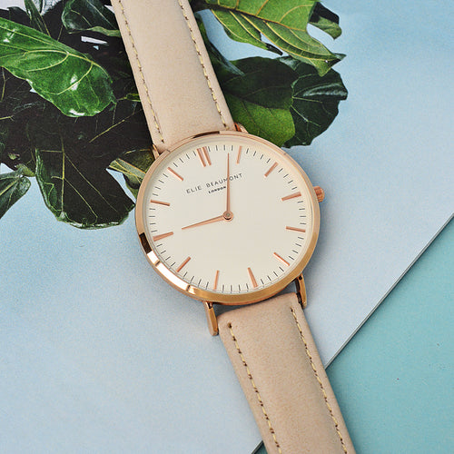 White Dial Stone Leather Watch