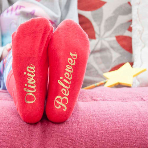 Children's Crimson & Gold Christmas Socks