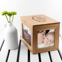 Load image into Gallery viewer, Leaf Design Oak Photo Keepsake Box