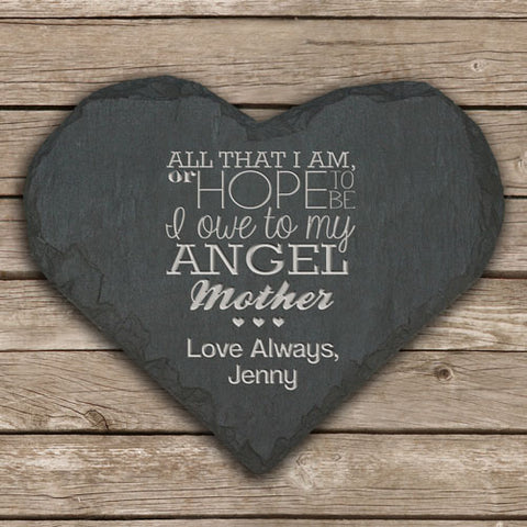 Angel Mother Keepsake Slate Heart