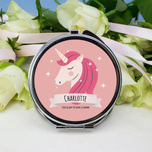 Load image into Gallery viewer, Sparkle Squad Round Pink Compact Mirror