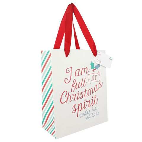 Medium White Christmas Gift Bag