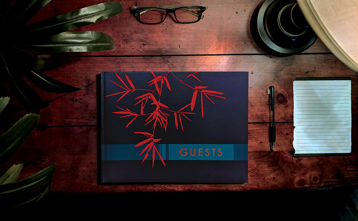 Desktop view of Blue Matte Guest Book Konig House Guest Books