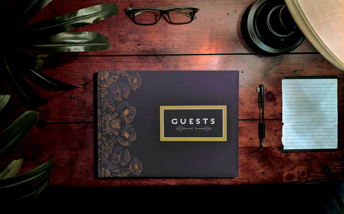 Desktop view of Slate Matte Guest Book Konig House Guest Books