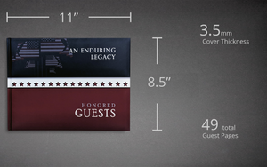 Dimensions of Honored Guests Book by Konig House Guest Books
