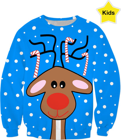 Seasons Greetings Reindeeer Kids Sweatshirt