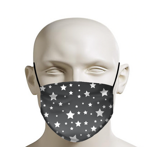 White Stars Gray Ombre Face Mask