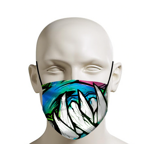 Graffiti monster teeth covid 19 face mask