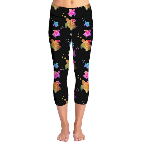 Sea Turtles Black Capri Yoga Pants