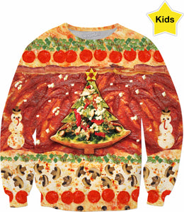 All I Want For Christmas Is Pizza Kids Sweatshirt