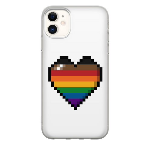 Inclusive Rainbow Pixel Heart