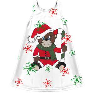 Merry Christmas Teddy Bear Kids Dress