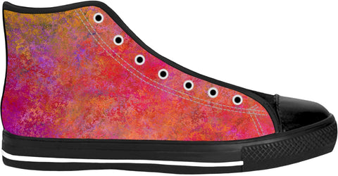 Pink And Orange Black Sole High Top Shoes