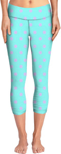 Aqua With Polka Dots Yoga Pants