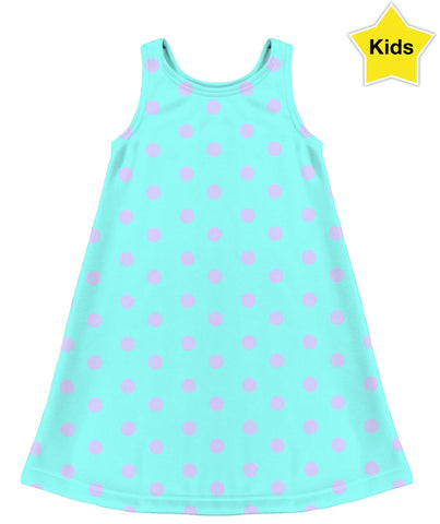 Aqua With Polka Dots Kids Dress
