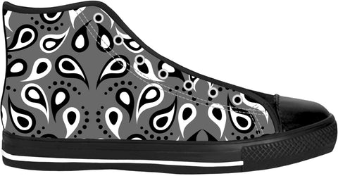 Black And White Paisley Print High Tops
