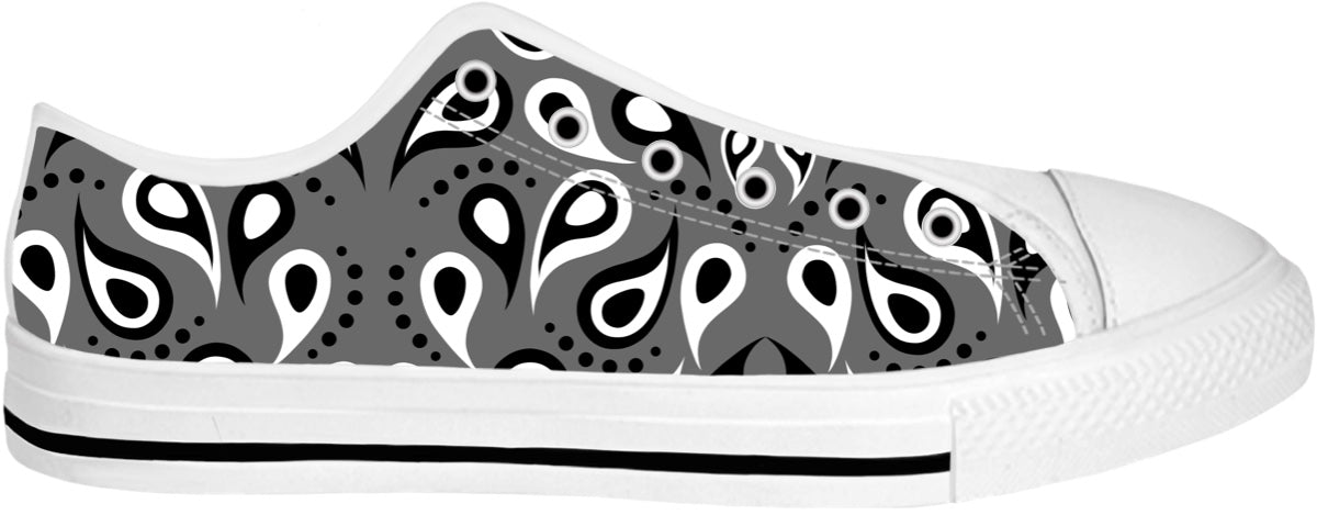 Black And White Paisley Print Low Tips Shoes
