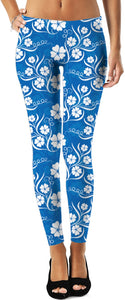 Blue White Flower Leggings