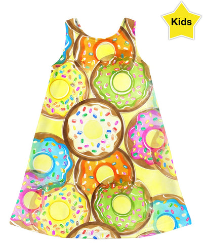 Yellow Donut Display Kids Dress