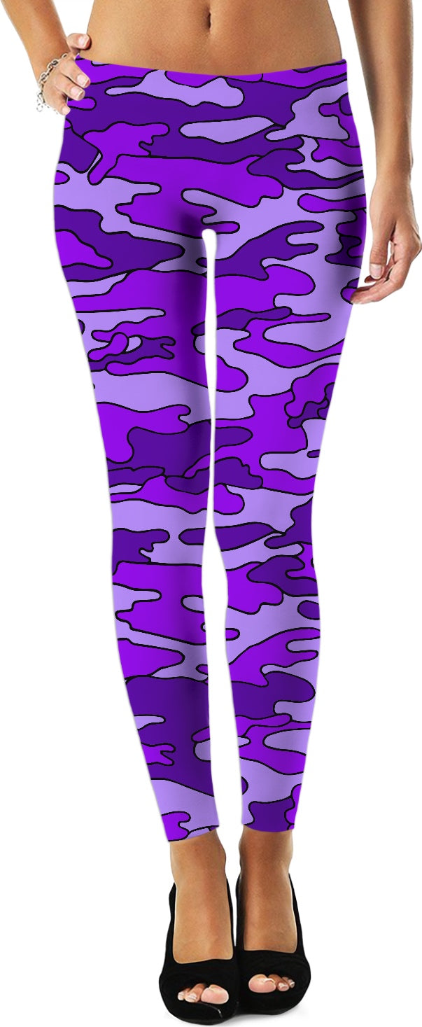 """Purple Camo"" Game Day Leggings"