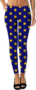 Yellow Stars Blue Leggings