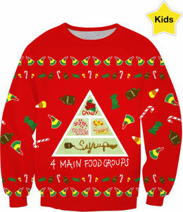 Elf Food Groups Kids Sweatshirtt