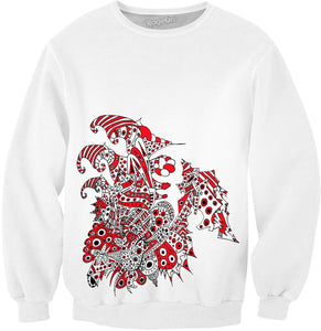 Alien 57 White & Red Sweatshirt