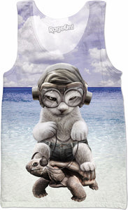 CAT RIDING TORTOISE Tank Top