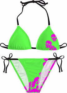 SKULLS Green and Pink Bikini