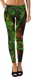 Fractal 5 Green Leggings