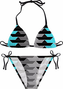 PAPER BOATS Gray and Aqua Bikini