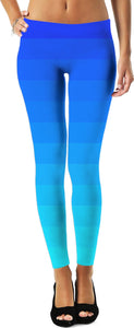 Blue Striped Ombre Leggings