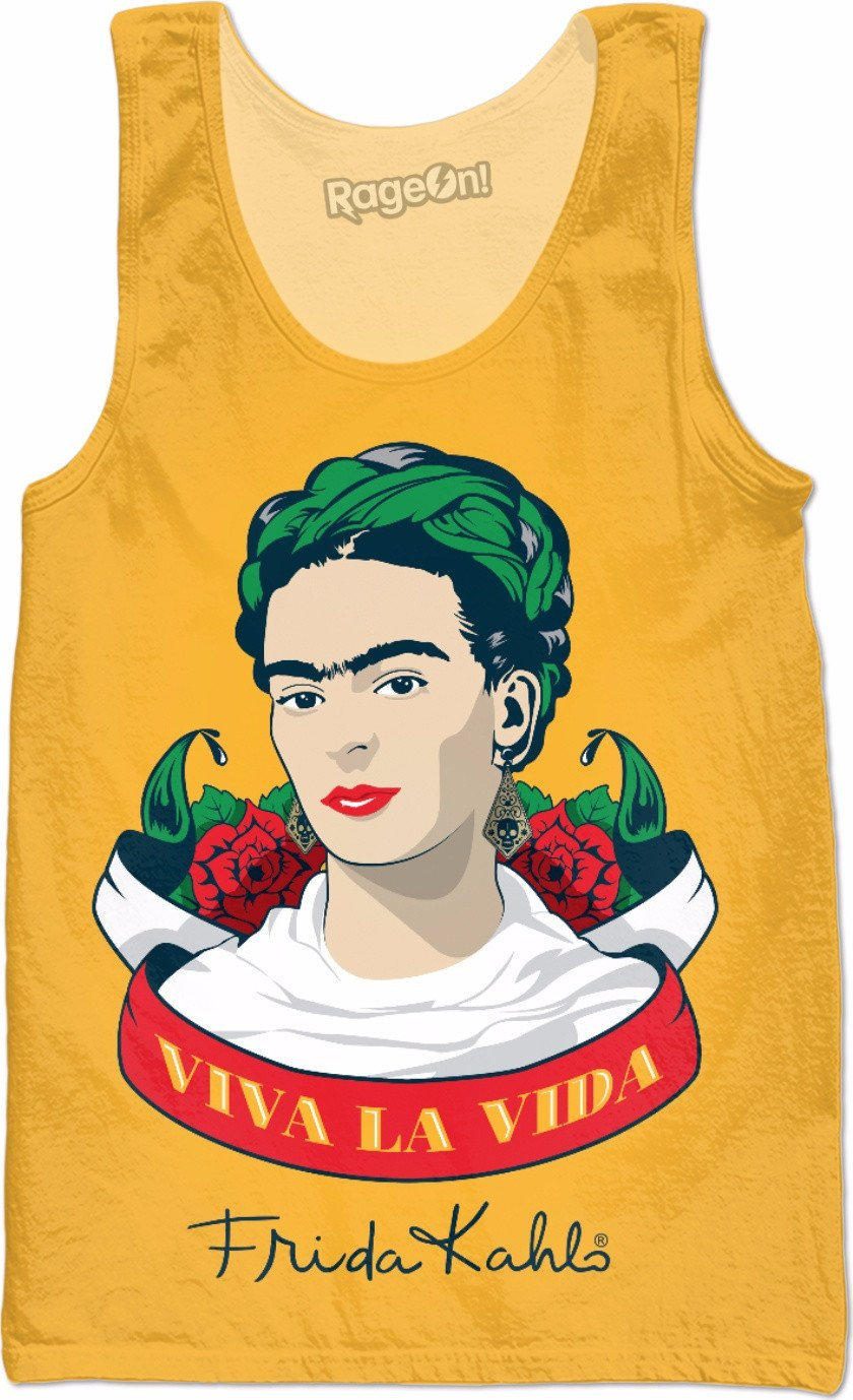 Frida Kahlo Viva la Vida Yellow Tank Top