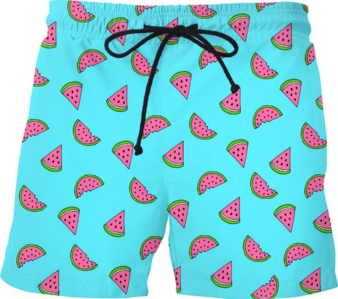 Watermelon Light Blue Swim Shorts