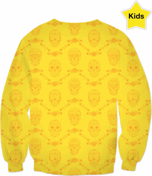 Kids' Yellow Sugar Skull Sweatshirt