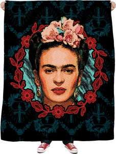Frida Kahlo Floral Frame Fleece Blanket
