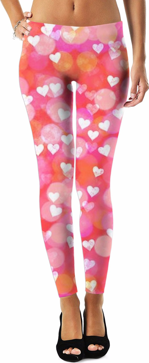 Bubbles and Hearts Pink Women's Leggings