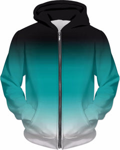 Black White Teal Ombre Hoodie