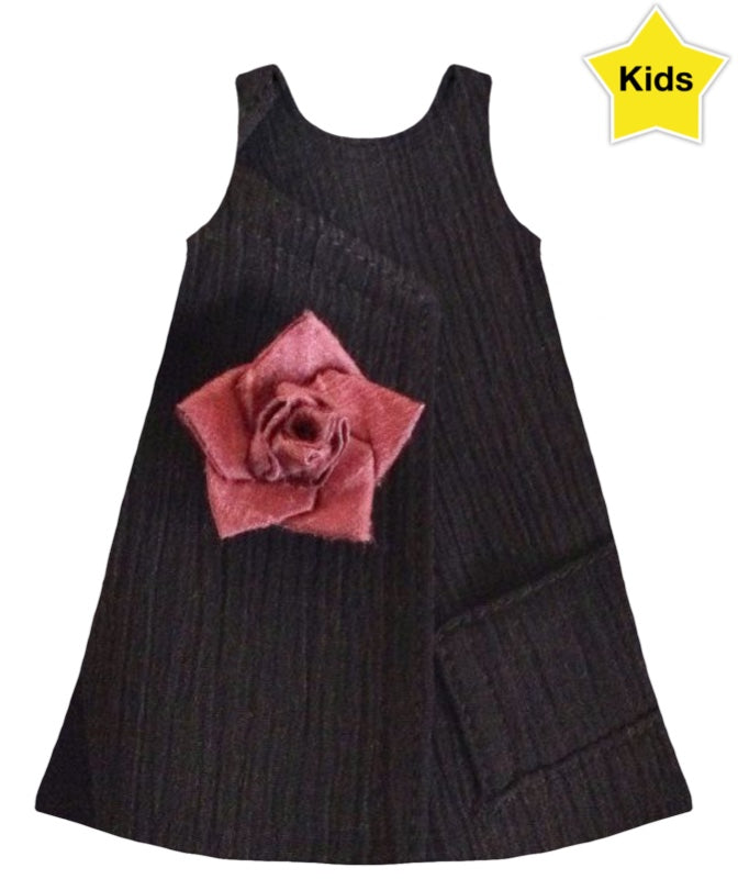 Grey With Pink Rose Girls Dress