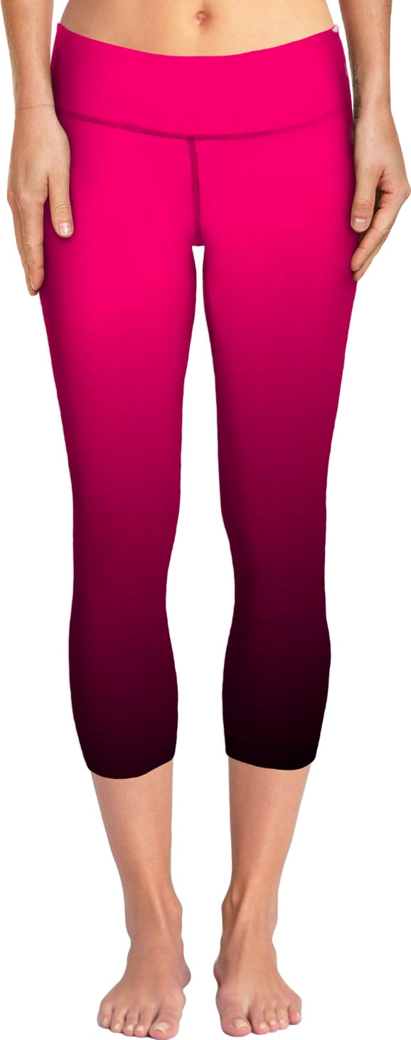 Hot Pink Black Women's Yoga Pants