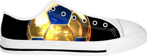 Gold Blue Soccer Ball Low Top Shoes