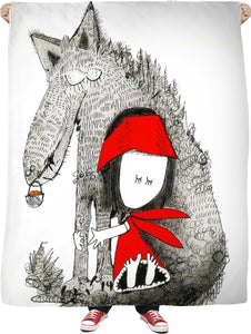 BFF Red & Wolf Fleece Blanket