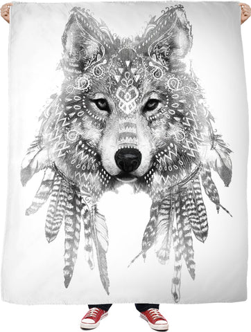 ROFB Wolf Chief 2 Black and White Fleece Blanket