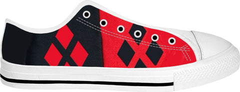 Black and Red Harlequin Low Top Shoes