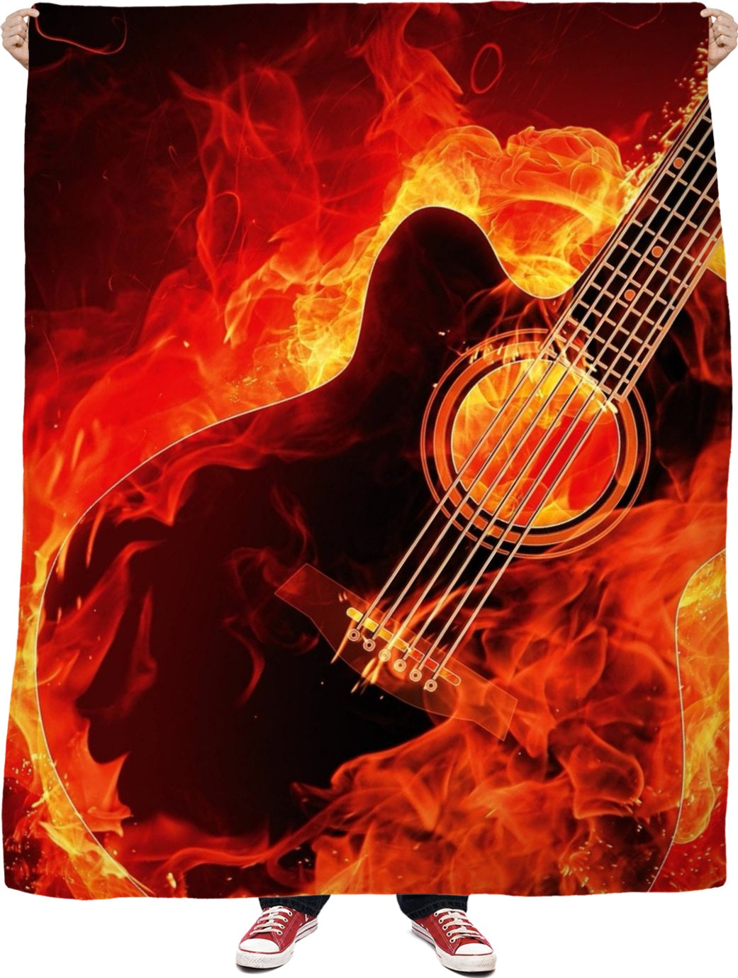 Flamin Guitar Fleece Blanket